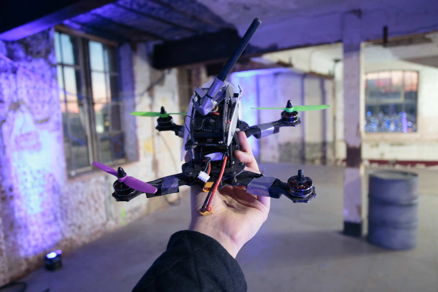 "My FPV steed, a custom-built quadcopter <a href=""http://www.radioc.co.uk"">made by RadioC</a>. At the start of the day, there was no duct tape. And I could've sworn there was once a fourth propeller..."