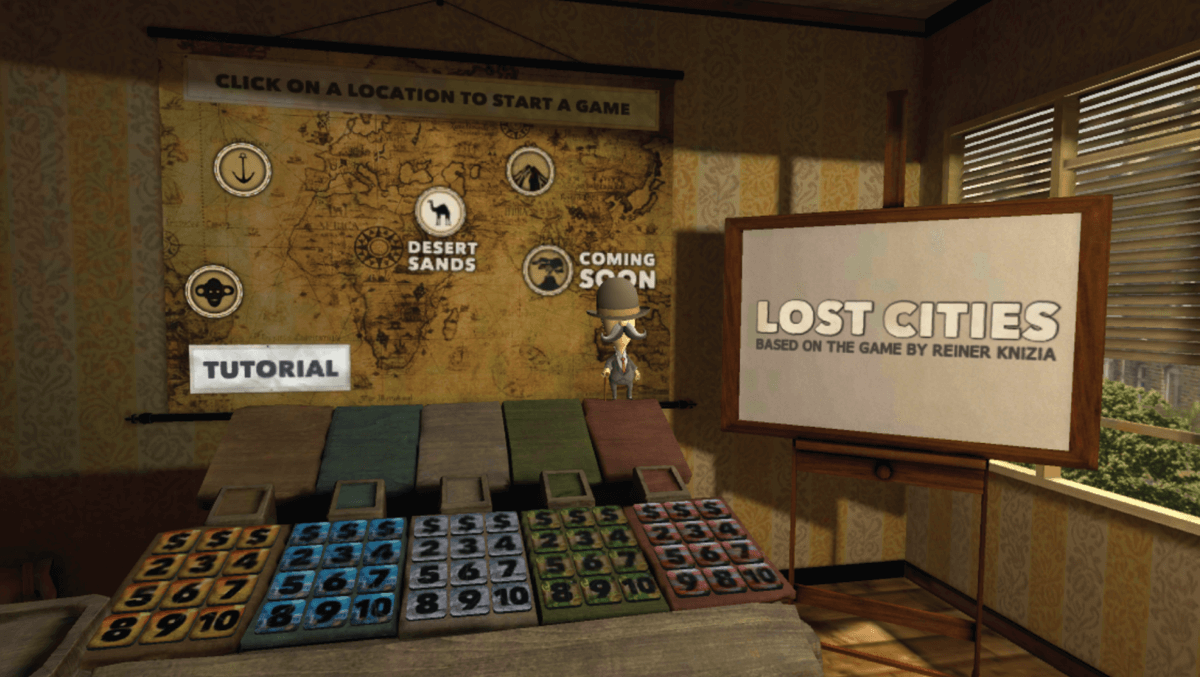 The main menu in <em>Lost Cities VR</em>.