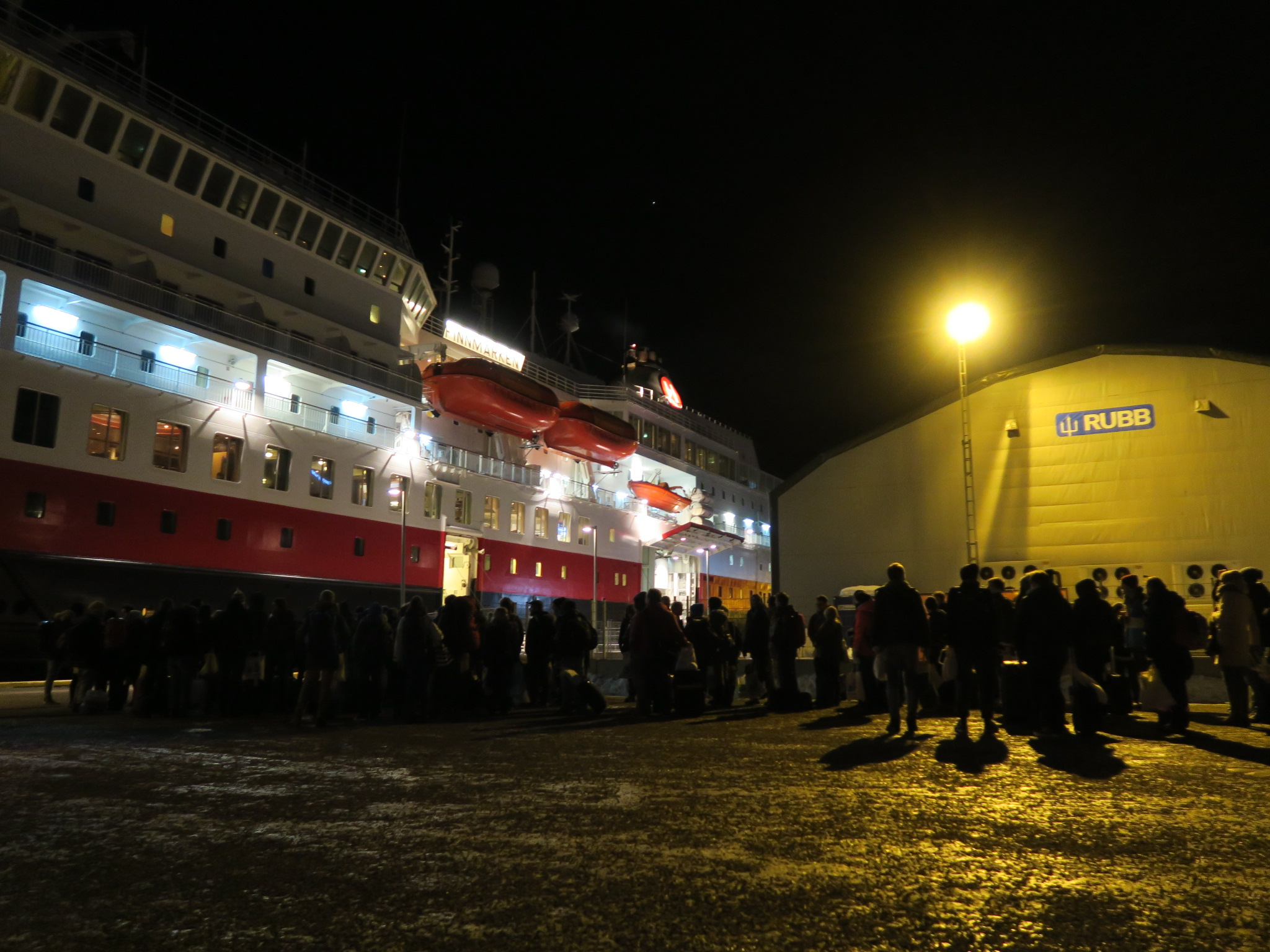 Developers line up to board the Finnmarken.