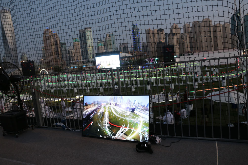One of the viewing stations dotted around the grandstand, with some first-person-view headsets, for those who want to experience the race from a pilot's perspective
