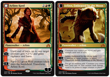 The planeswalker Arlinn Kord, and the werewolf that she transforms into
