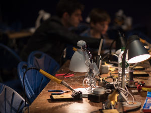 A wide range of guided activities included soldered electronics projects with MadLab