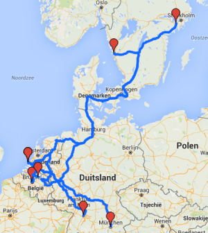 Planned routes of the truck platoons