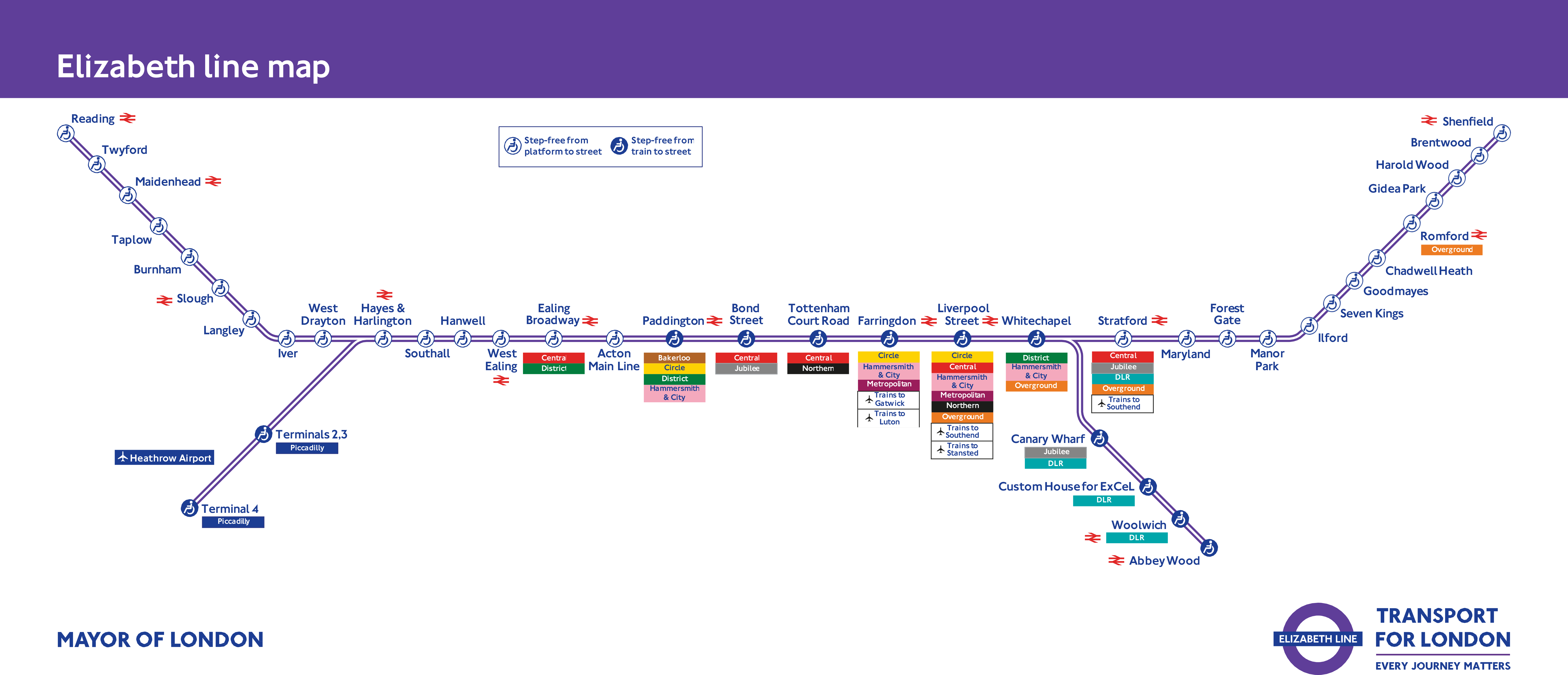 A map of the Elizabeth line, which will begin operation in 2017 and open fully by the end of 2019. (Well, if everything goes to plan.)
