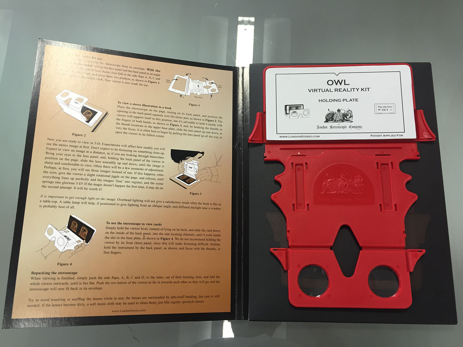 The Owl, in flat-pack form, with its packaging/assembly instructions.