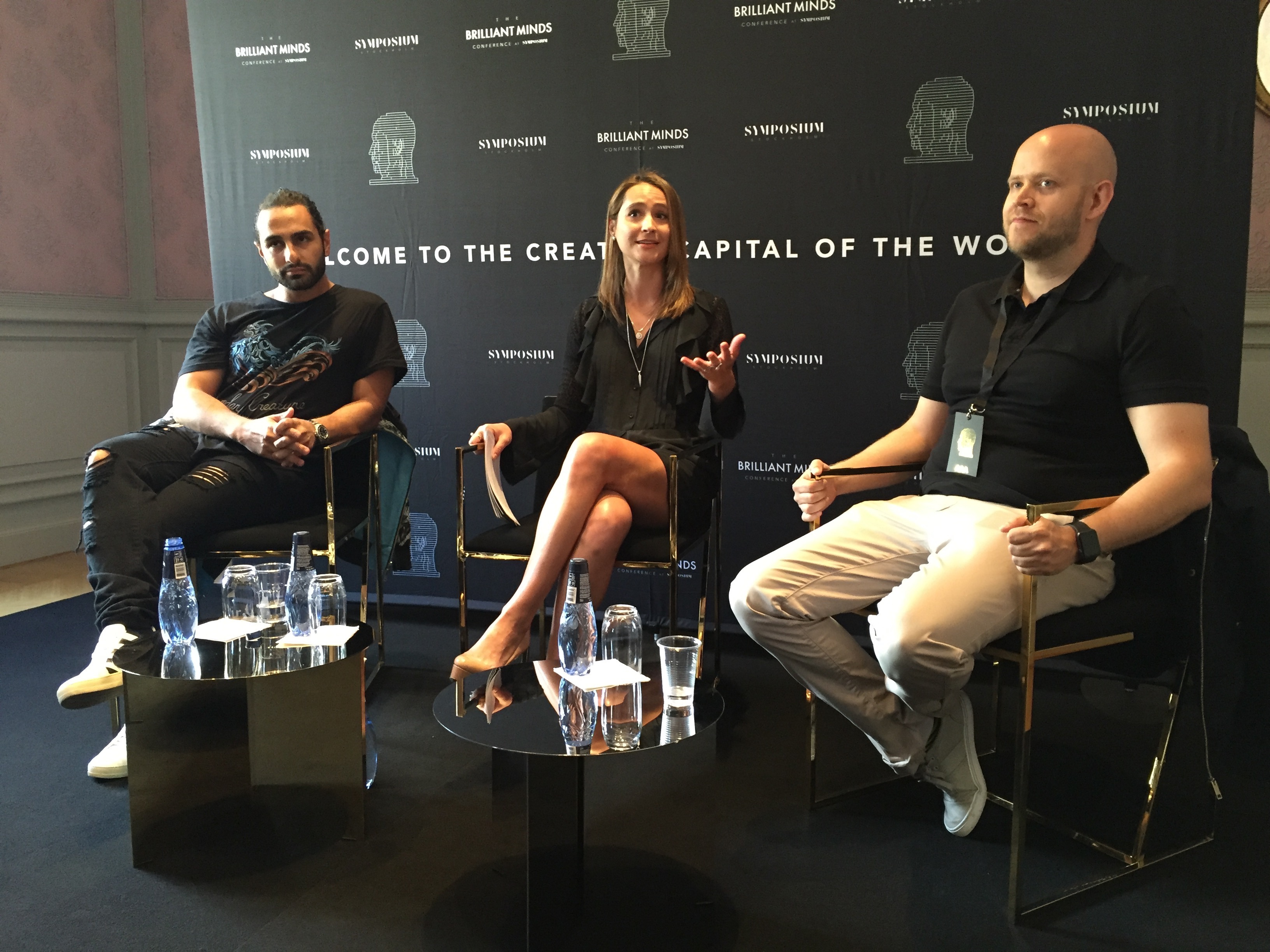 L to R: Ash Pournouri (At Night Management), Natalia Brzezinski (CEO Symposium Stockholm), and Daniel Ek (Spotify founder) discuss the purpose of the two-day event.