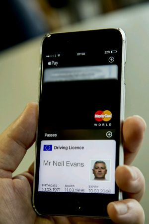 An early prototype of a driving licence within Apple Wallet