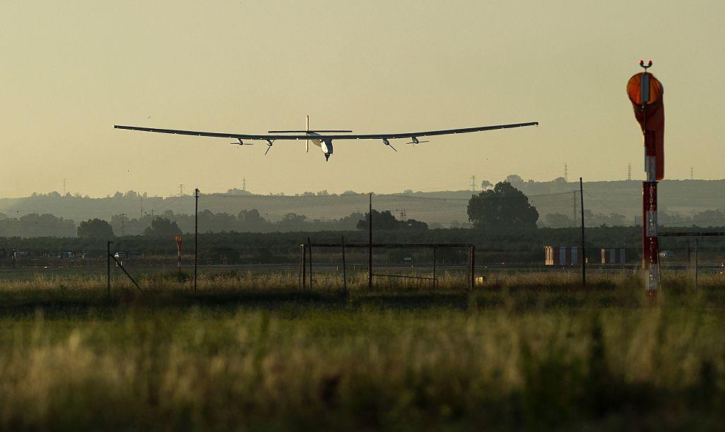 Solar Impulse 2 lands at Seville airport, Spain.