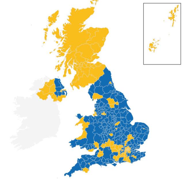 EU referendum voting across the UK. Blue = leave the EU; Yellow = remain in the EU.