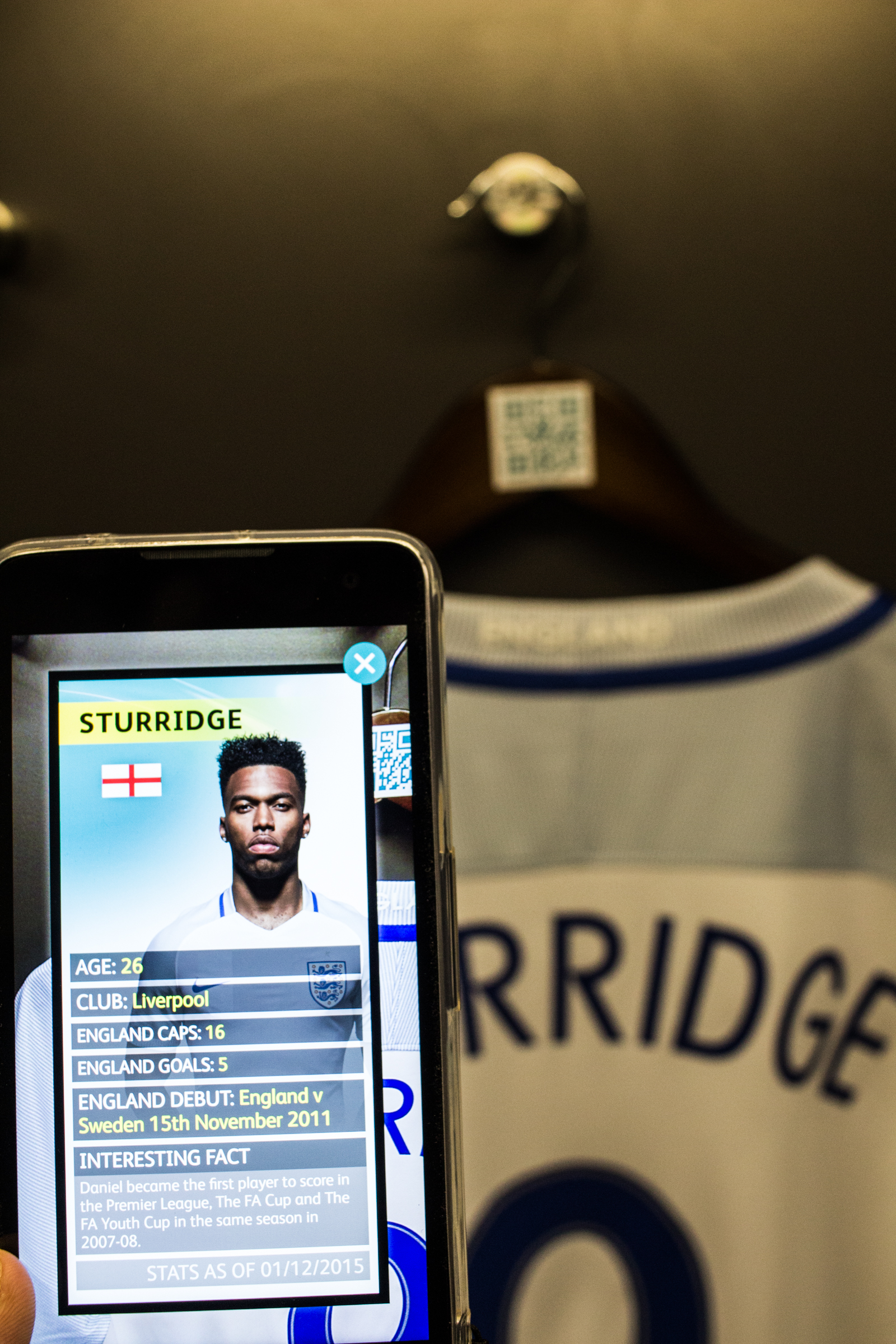 QR codes have been assigned to player shirts in the locker room, letting you view stats on their sporting achievements.