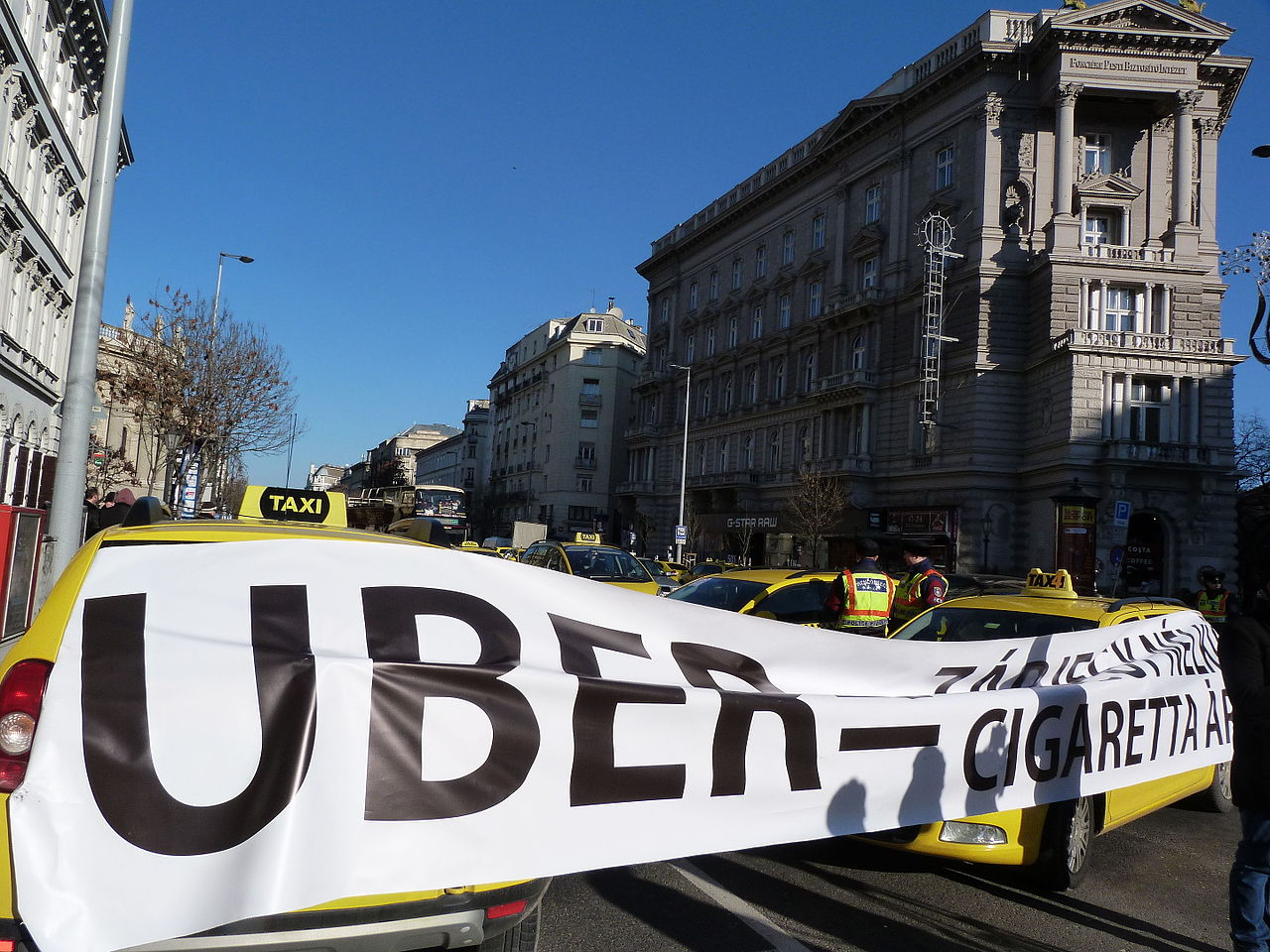 Taxi drivers protest against Uber in Budapest in January 2016.