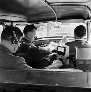 Inside a television detection van, 1956.