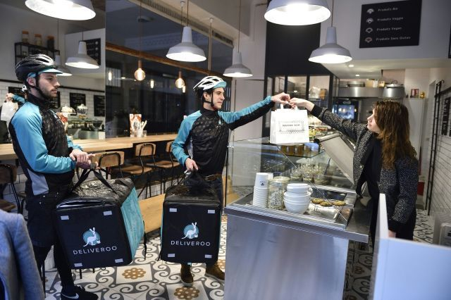 Bikers working for food delivery service Deliveroo