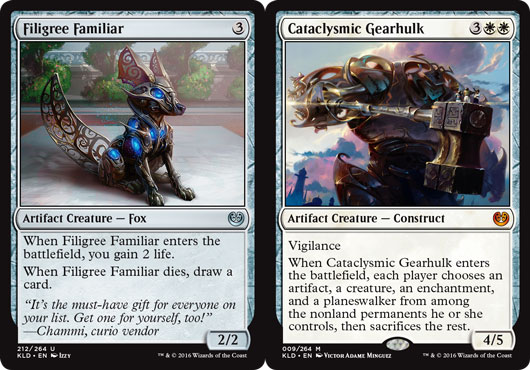 Artifacts are a major theme in Kaladesh—both normal ones on the left, plus the introduction of some coloured ones, too.