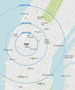 A map of cycle journey times from Pennsylvania Station in Midtown Manhattan. The outer circle marks the 20-minute boundary.