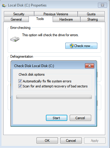 Scheduling a disk check with Chkdsk, Windows' built-in disk checking tool.