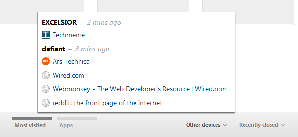 Chrome's remote tab selection menu