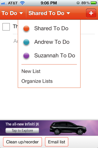 Color coded task lists in Cozi, one for shared tasks and one for each adult in the house.