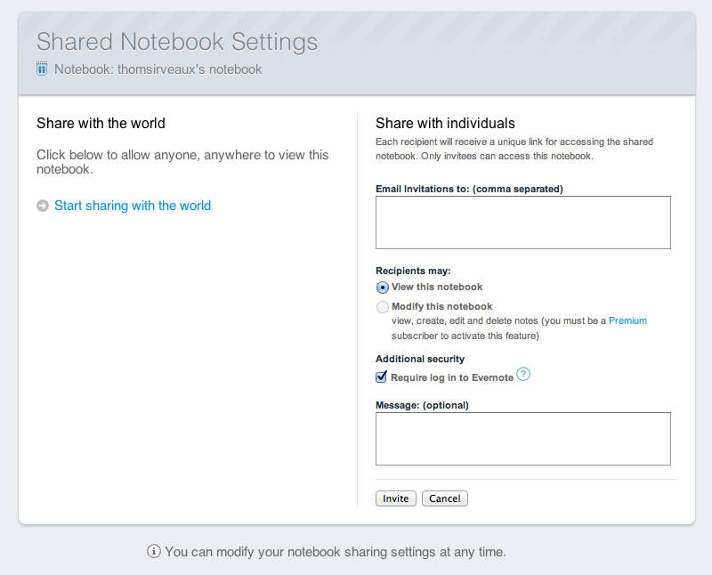Preparing to share a notebook in Evernote.