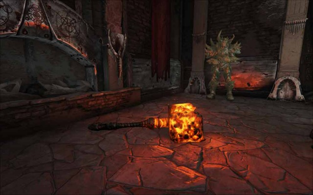A lava cube glows on the floor.