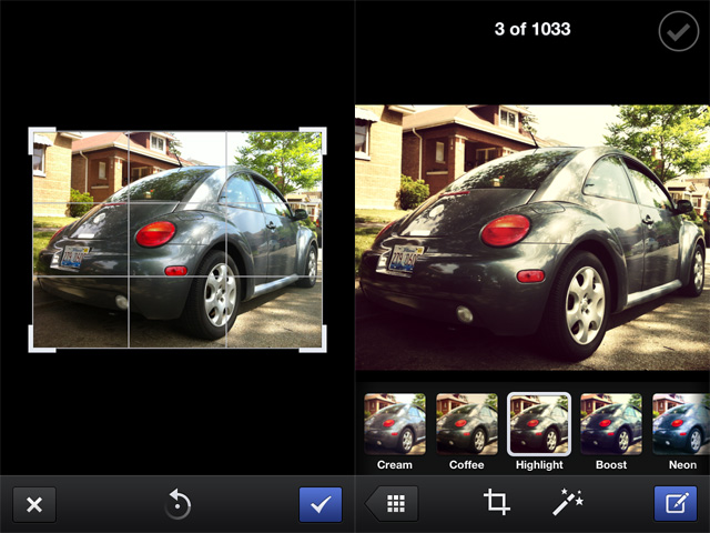 Facebook Camera offers cropping, rotation, and filter options that will probably appeal to a wide variety of users.