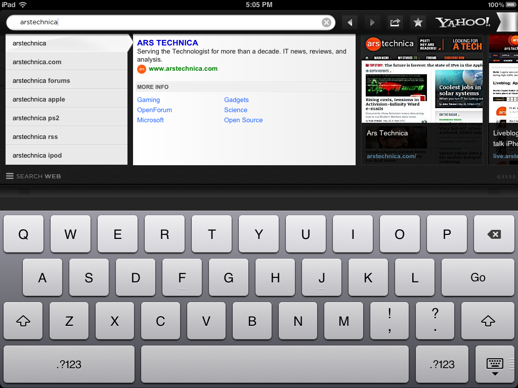 Performing a search in Axis on the iPad.