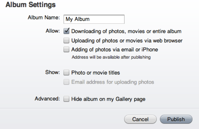 You must enable the downloading of your photos and movies before you can actually download them through the Web.