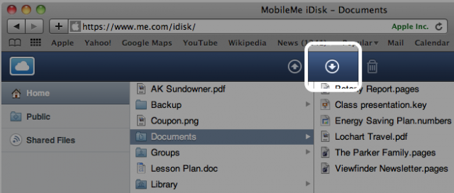Click this button to download your iDisk files over the Web.