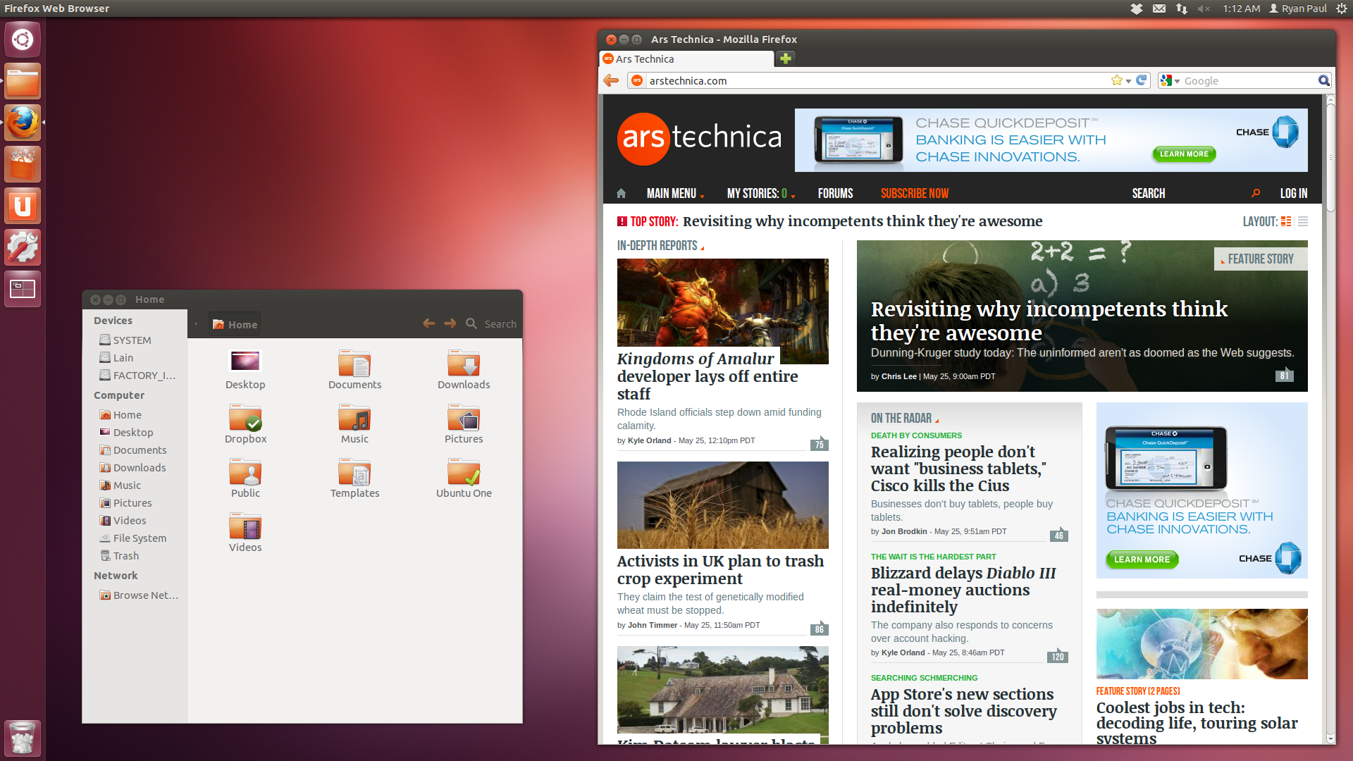The Ubuntu 12.04 desktop