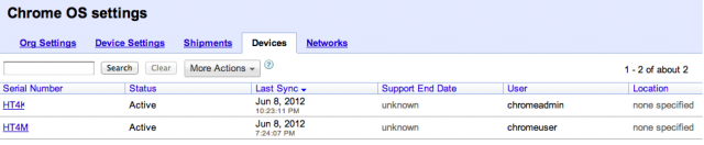 All of your enrolled systems appear in the searchable Devices tab.