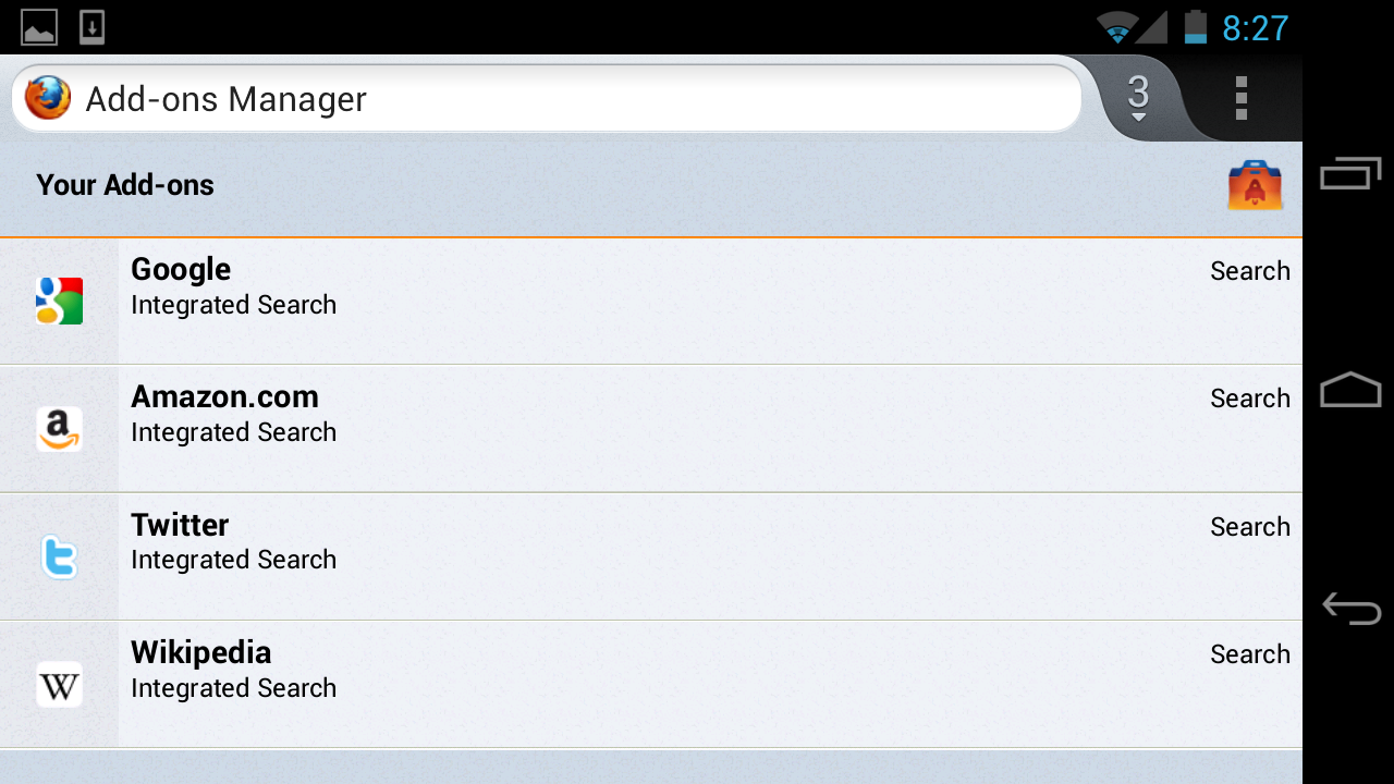 The add-on manager in Firefox for Android