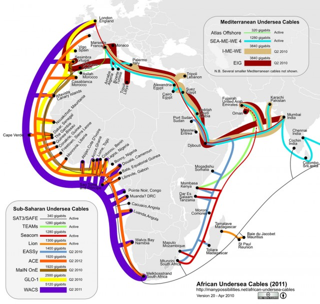 In the last two years, seven new submarine cable networks have brought terabits of additional bandwidth to Africa—and in some cases, the first real high-speed connectivity.
