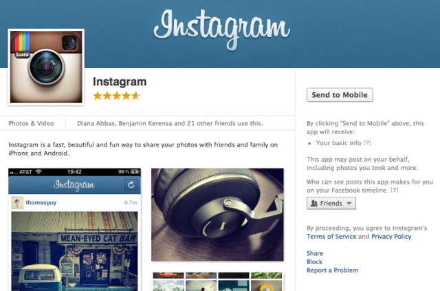 Instagram's page in the Facebook App Center