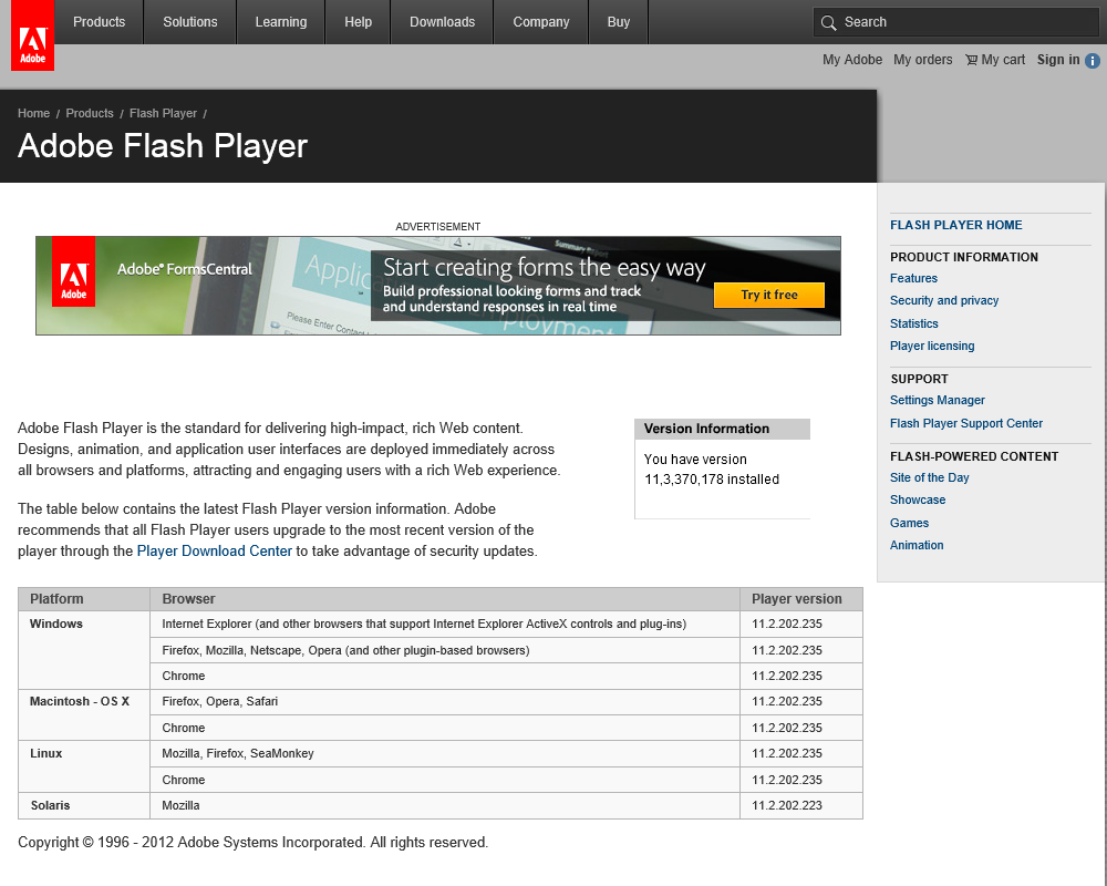 Adobe.com is one of the sites that's allowed to run the Flash plugin.