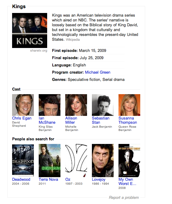 The entity data in Knowlege Graph for the cancelled TV series Kings, as displayed in Google Search's right column.