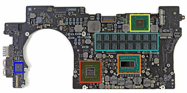 Major chips include: Intel Core-i7 3720QM processor (orange), Intel E208B284 controller (yellow), NVIDIA GeForce GT 650M GPU (red), and Intel DSL3510L Thunderbolt controller (blue).