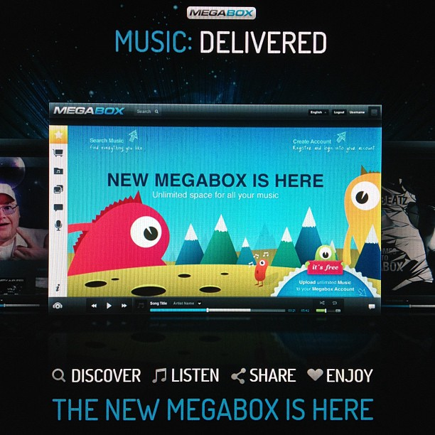 A promotion for Dotcom's MegaBox music upload service, and what appears to be a mobile application screenshot.