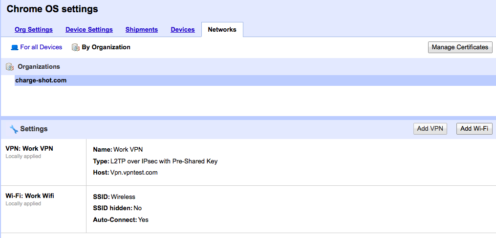 Managed WiFi and VPN settings can be pushed out to clients automatically, but it doesn't change how Chrome OS works.
