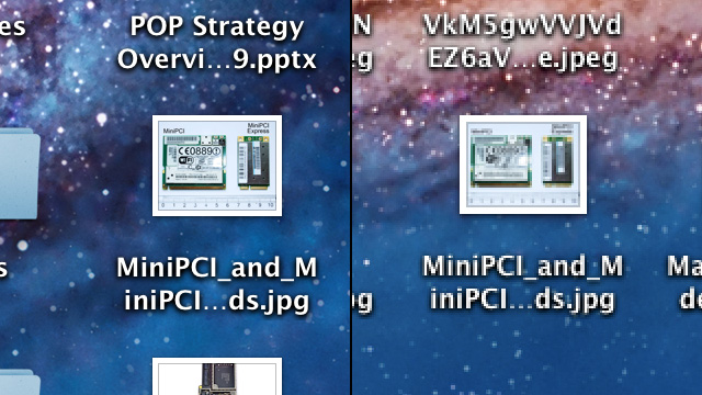 Image preview icons are crystal clear on the MacBook Pro, with easily discernible details (left). The same icons look impressionistic by comparison on a non-Retina display (right).