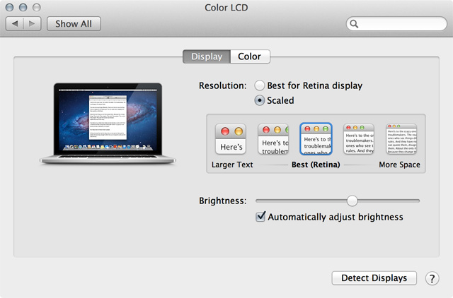 "Apple recommends the standard ""Retina"" setting, but you can also opt for ""larger text"" or ""more space."""