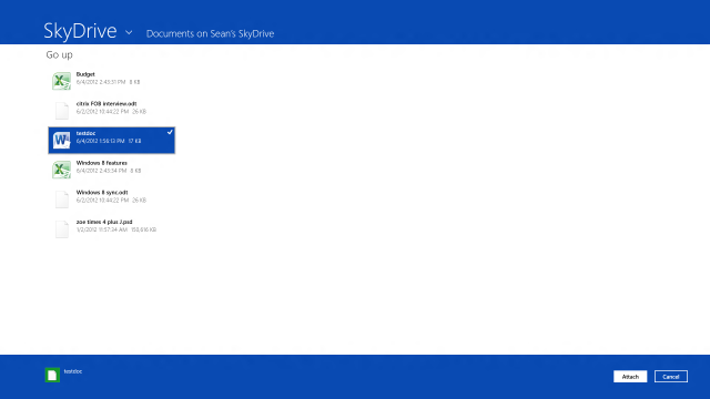 The SkyDrive file interface inside the Metro Mail app in Windows 8 Release Preview.