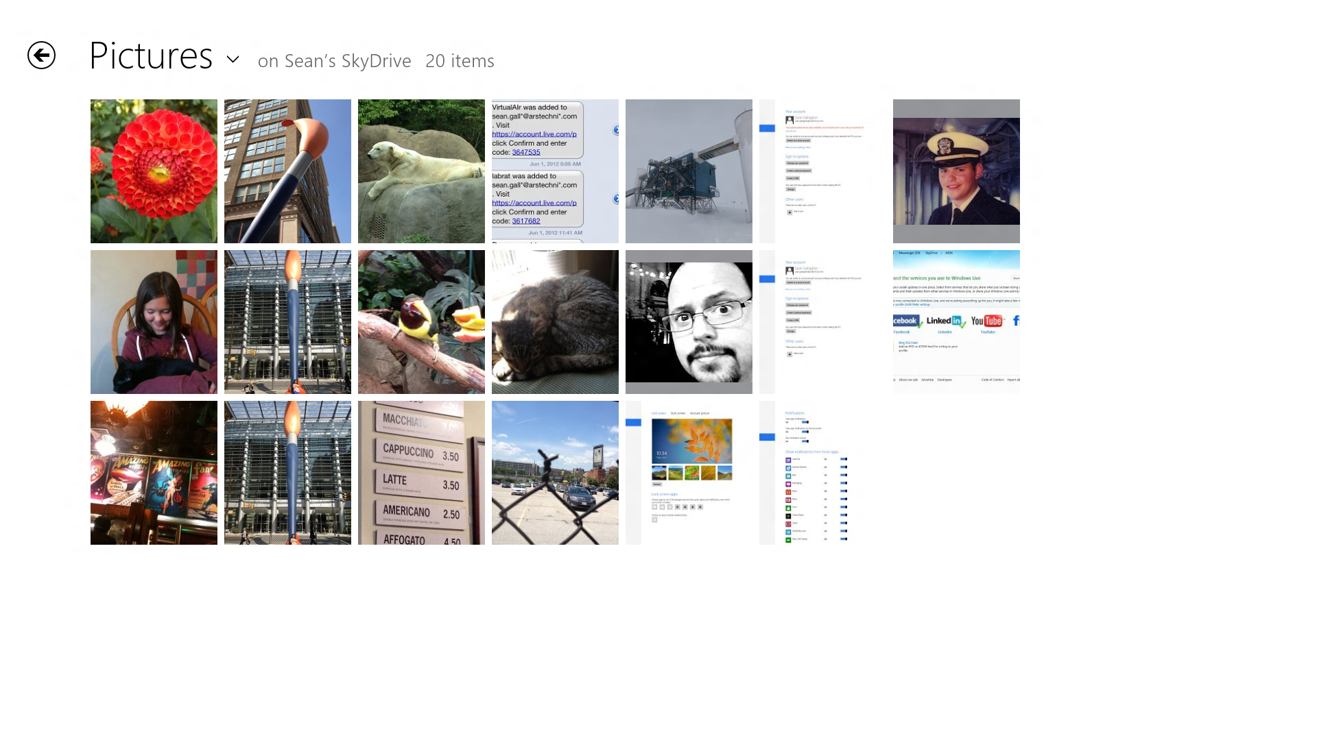 The thumbnail view in the Pictures folder. Left-clicking on an image displays it in a fullscreen view.