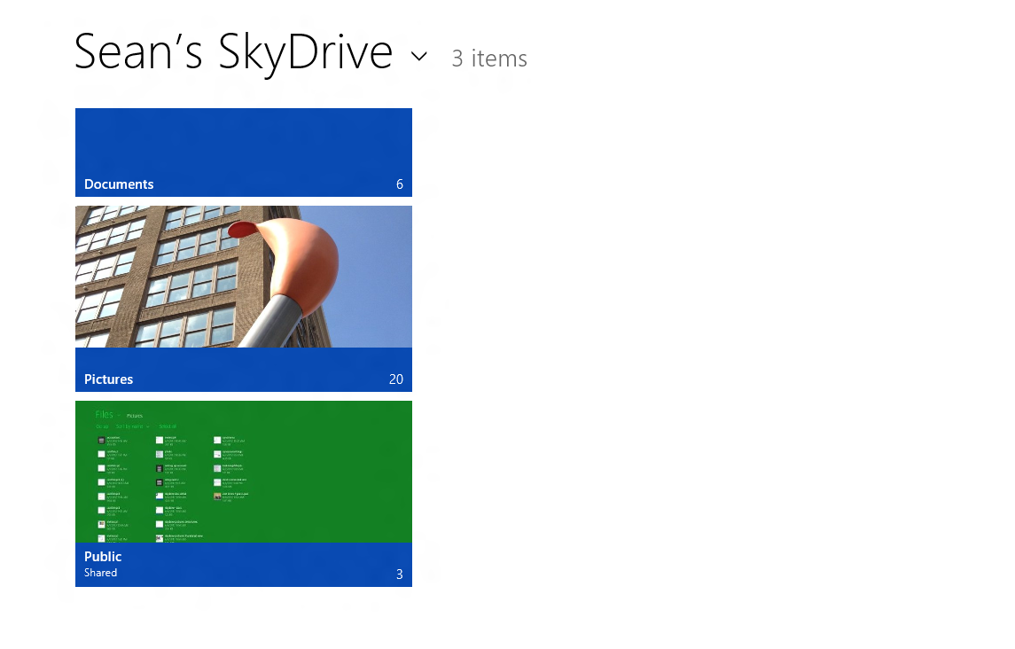 There are two ways to view the contents of your SkyDrive: in thumbnail or detail view. Thumbnails are the default, so when you open the SkyDrive app, you get a view like this (if you have images in your Pictures and Public folder).
