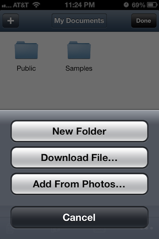 Air Sharing's built-in file explorer can be used to create folders, import photos, and download webpages to your device.