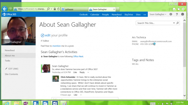 "My conversation about Yammer, courtesy of Office 365's own social networking feature, ""Newsfeeds."""