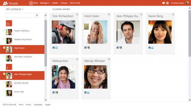 The People service has more than a hint of the Windows 8 look and feel to it.