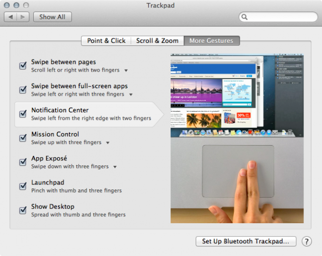 Watch the video included in the Trackpad preference pane carefully; you have to slide from <em>off</em> the trackpad from right to left.