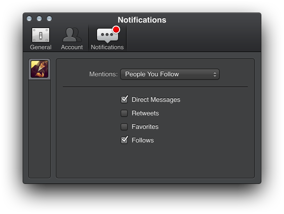 Running under Mountain Lion, Tweetbot alpha offers several notification options.