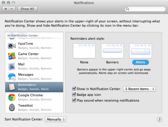 The Notifications preference pane in System Preferences.
