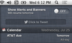 "Alerts and banners can be temporarily turned off using this switch hidden at the top of the Notification Center list. Note that the menubar icon is grayed out when the switch is set to ""off."""